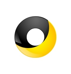 Creative yellow and black symbol letter O for your vector image