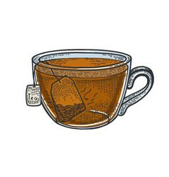 cup tea with tea bag sketch engraving vector image