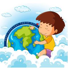 Cute boy hugging earth vector
