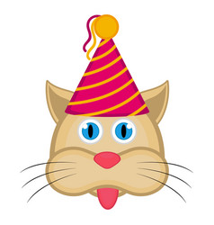cute cat with a party hat avatar vector image