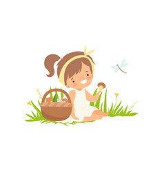 Cute happy girl picking up mushrooms on green vector