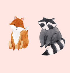 Cute watercolor baraccoon and fox vector