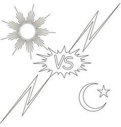 Day and night vs the sun and the moon star vector