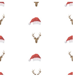 deer and santa hat triangle pattern backgrounds vector image