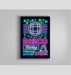 disco party poster neon banner nightclub party vector image