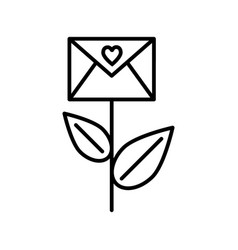envelope with heart on stem line icon love letter vector image