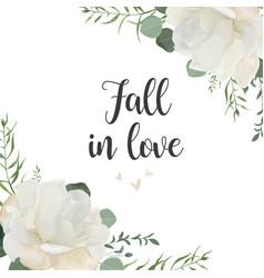 Floral card elegant design with garden white vector