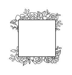 floral frame border doodle square frame vector image