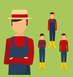 Gardener differents with traditional clothes vector