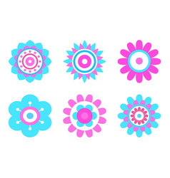 geometric shape flowers made of simple circles vector image