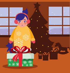 girl with christmas gift in the room vector image