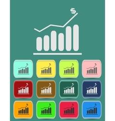 Graph icon with color variations vector