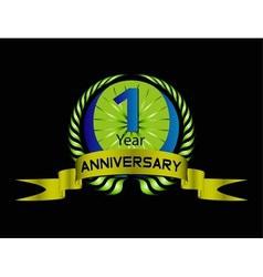 Green vintage anniversary message emblem vector image