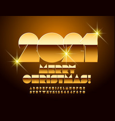 greeting card merry christmas gold font vector image
