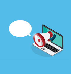hand holding megaphone with laptop and bubble vector image