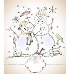 Happy snowman vector