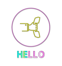 hello round linear icon with reciever in hand vector image