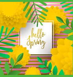 Hello spring greeting card with nature decoration vector