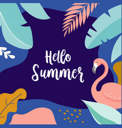 hello summer banner design with flamingo vector image