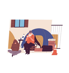 homeless people sitting near tent on city vector image