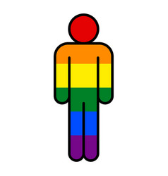 Human lgbt movement rainbow flag vector