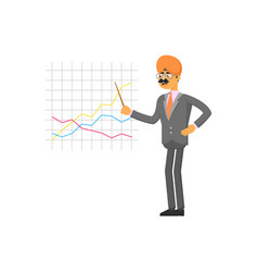 indian businessman making chart presentation vector image