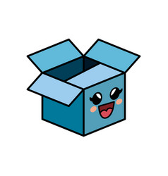 kawaii box icon vector image