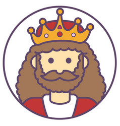 King avata king with beard icon king in crown vector
