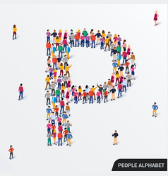 large group people in letter p form human vector image