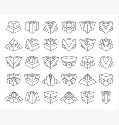 lineart abstract cubes geometric isolated set vector image