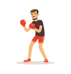 Male athlete player character boxing active sport vector