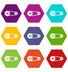 Mechanic belt icon set color hexahedron vector