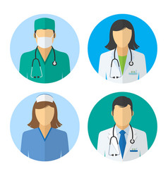 Medical icons doctor and nurse avatars vector