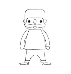 mexican man cartoon standing character vector image