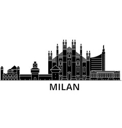 Milan architecture city skyline travel vector