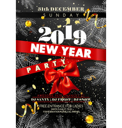 New year party invitation poster with date and day vector