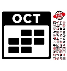 October Calendar Grid Flat Icon With Bonus vector