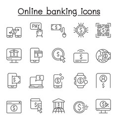 online banking icons set in thin line style vector image