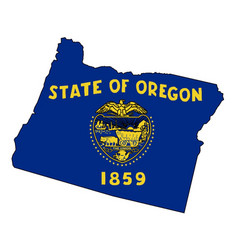 Oregon state outline map and flag vector
