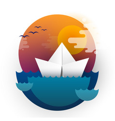 paper boat travel in the sea in sunset vector image