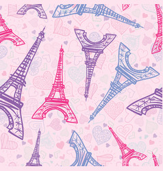 Pink blue eifel tower paris seamless repeat vector
