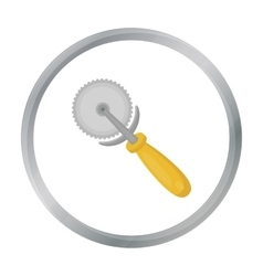 Pizza cutter icon in cartoon style isolated on vector image