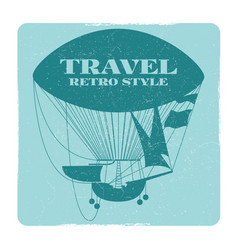 retro style travel banner with hot air balloon vector image