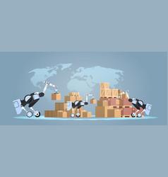 Robots loading cardboard boxes hi-tech smart vector