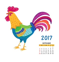roosters calendar september vector image