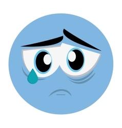 Sad face emoticon icon vector
