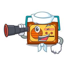 Sailor with binocular radio mascot cartoon style vector
