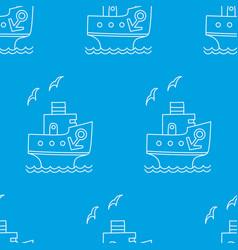 seamless pattern of white cartoon ship vector image