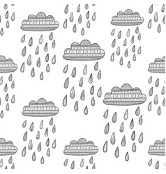seamless pattern with decorated rainy cloud vector image