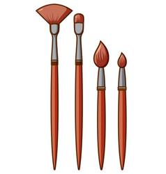 Set different sizes paintbrush on white vector